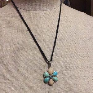 Flower Barse Pendant in Stone and Aquamarine